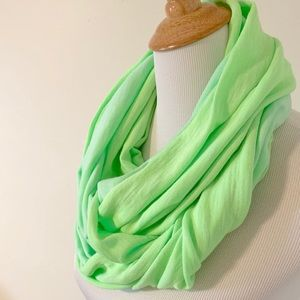Two Tone, Reversible, Neon Green Infinity Scarf